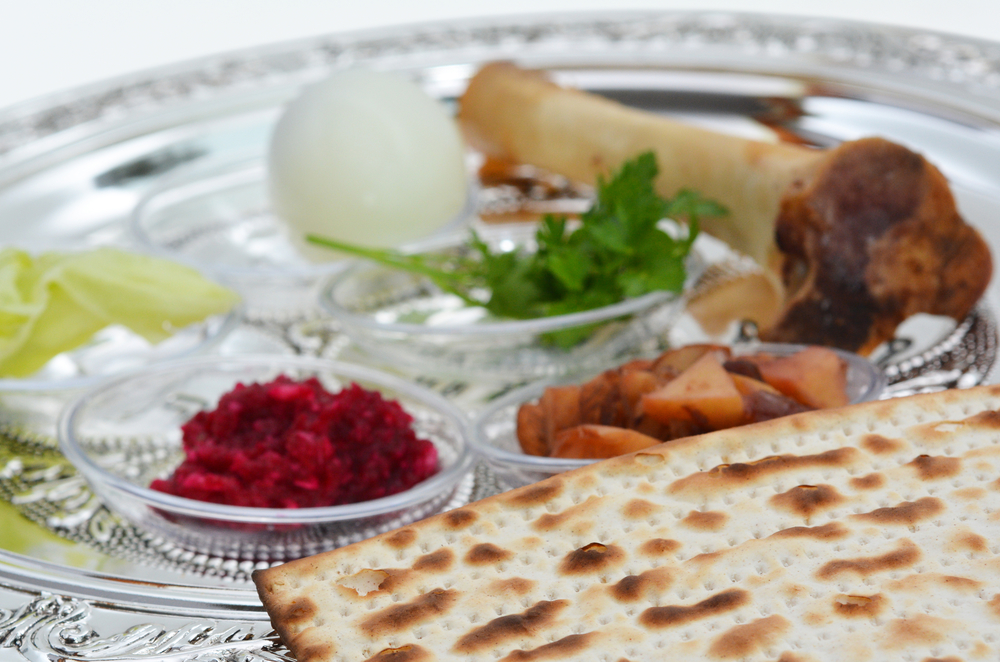 A Passover Seder plate with all of the traditional items.