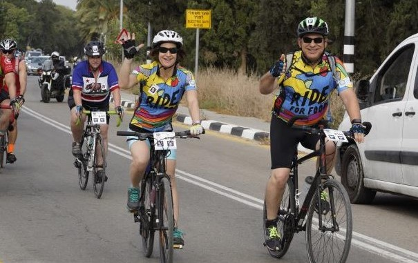 Bernice Behar and her husband cycling in the Israel Ride.