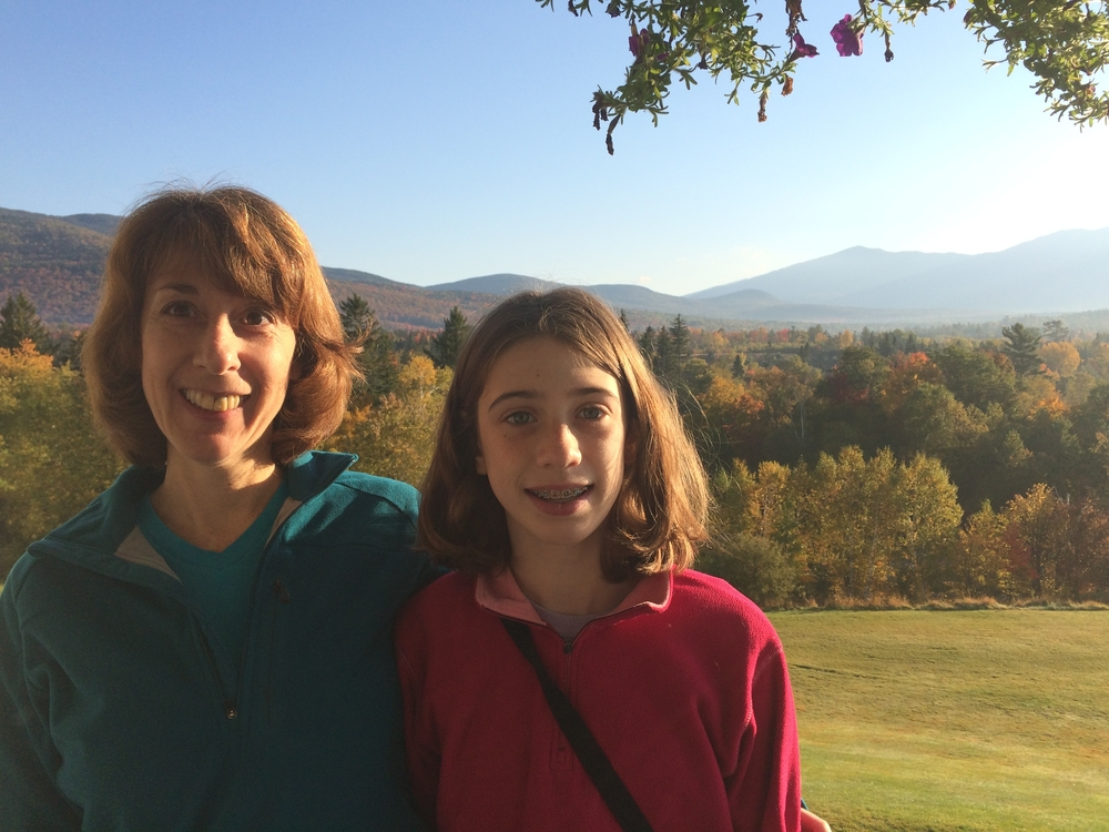 Betsy Johnson and her daughter in the mountains.