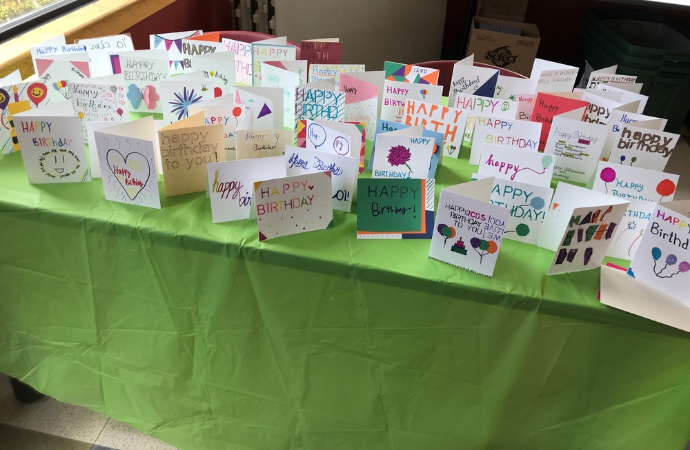 Birthday cards made by students from JCDS and GISB.