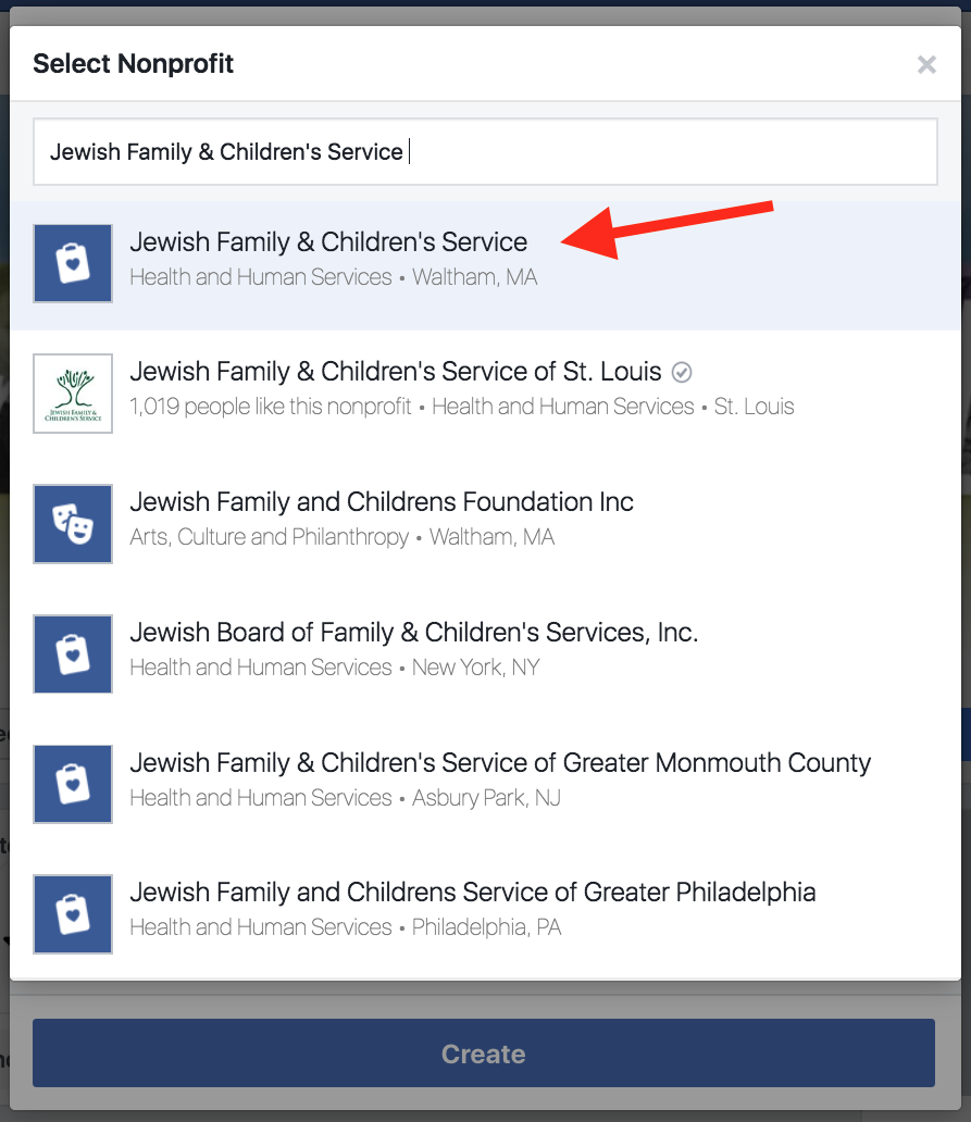 Selecting Jewish Family & Children's Service for a Facebook fundraiser.