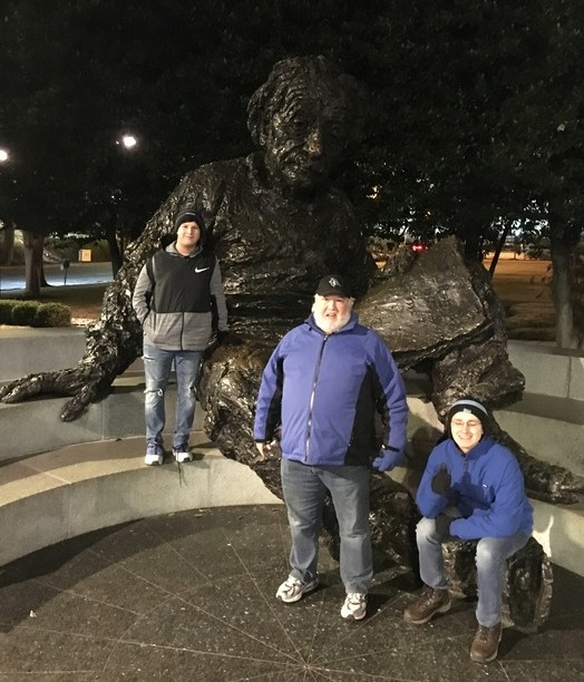 Eli and his family at The Albert Einstein Memorial.