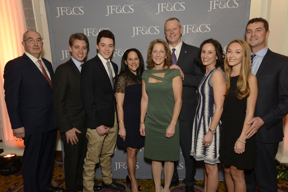 Carl Zack, Governor Baker, Lauren Baker, and the Creem and Simes families at the JF&CS Benefit 2019.