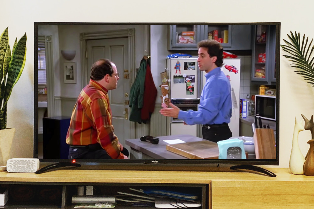 Seinfeld playing on a television.