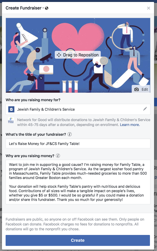 Creating a post for a Family Table Facebook fundraiser.