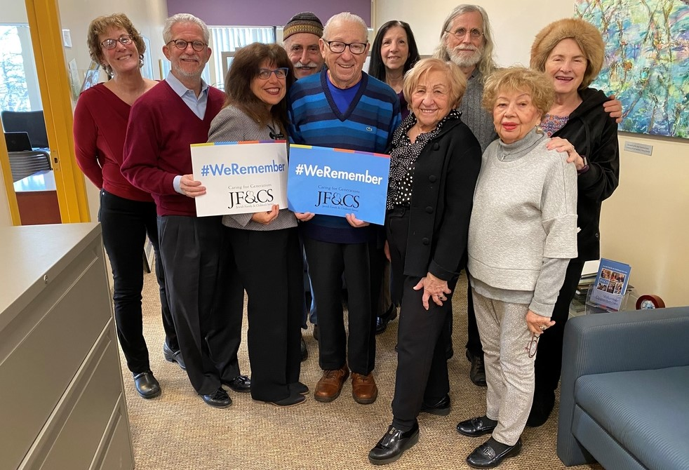 The Schechter Holocaust Services Advisory Council participating in the We Remember campaign.